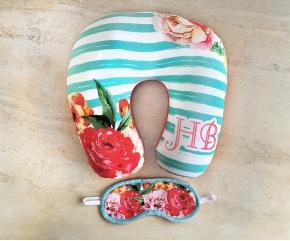 Máscara Tapa Olhos + Almofada de Pescoço Personalizada Floral