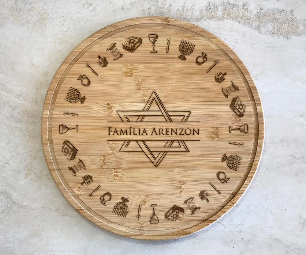 Tábua para Queijos 35 cm Personalizada Judaica