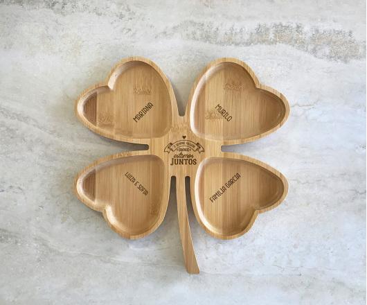 Petisqueira de Bambu Trevo Personalizada 09