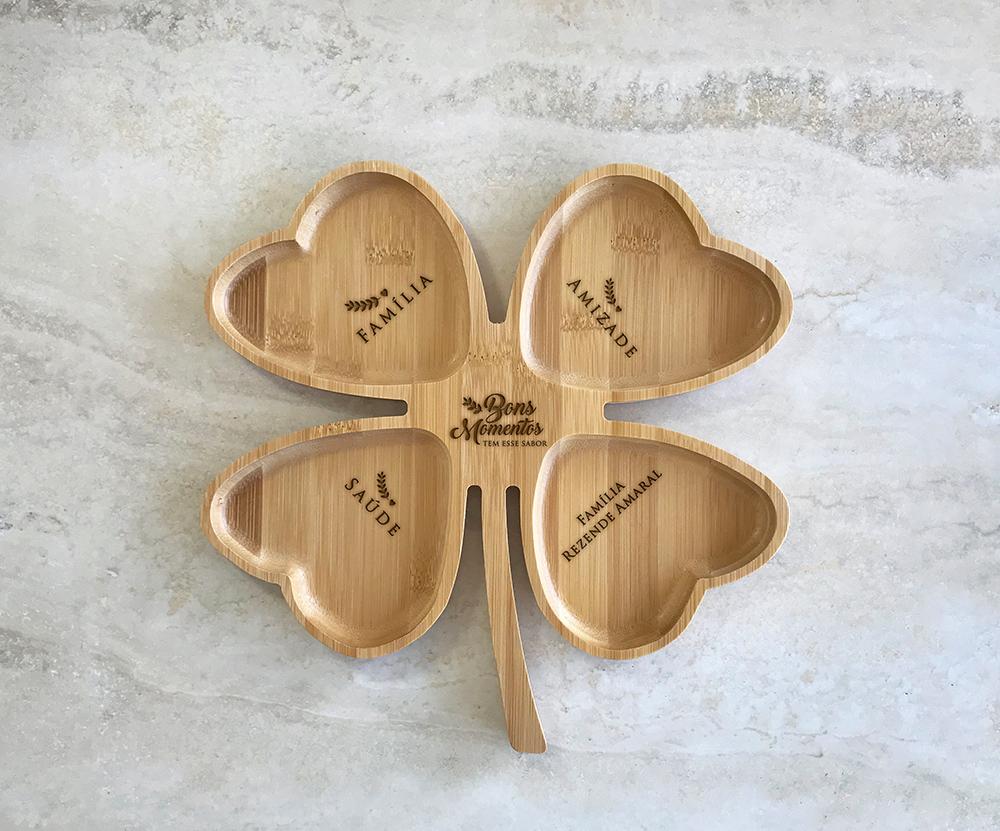 Petisqueira de Bambu Trevo Personalizada 11