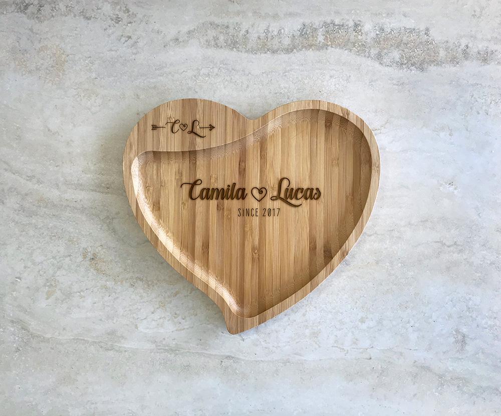 Petisqueira de Bambu Coração Personalizada 10