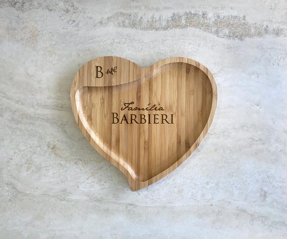 Petisqueira de Bambu Coração Personalizada 11