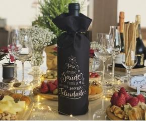 Embalagem para Vinho e Espumante Natal Preta