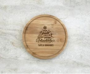 Tábua de Bambu Redonda 21 cm Personalizada 21