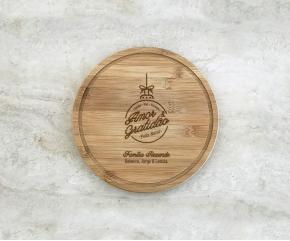 Tábua de Bambu Redonda 21 cm Personalizada 22