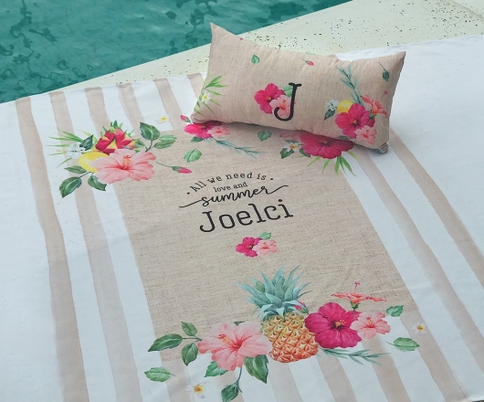 Kit Summer Personalizado Canga e Almofada Tropical