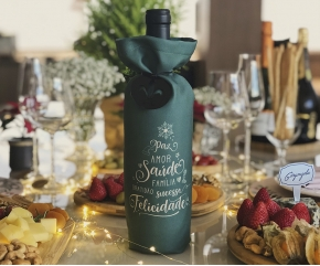 Embalagem para Vinho e Espumante Natal Verde