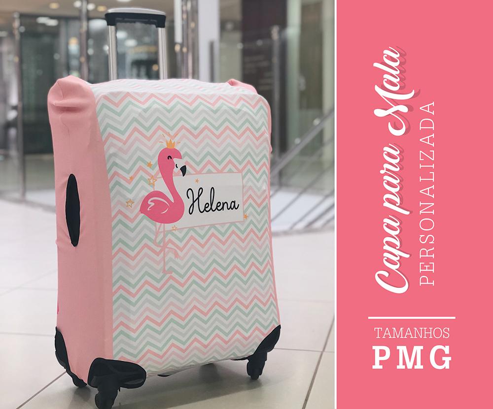 Capa para Mala Personalizada Flamingos Baby