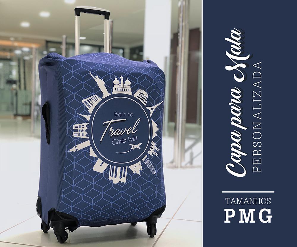 Capa para Mala Personalizada Blue Travel