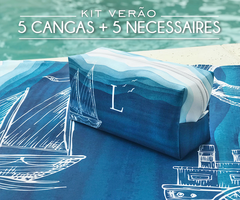 Kit 05 Cangas e 05 Necessaires Oceano