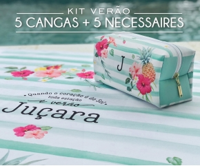 Kit 05 Cangas + 05 Necessaires Tropical Chic Verde