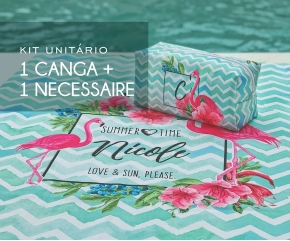 Kit 01 Canga + 01 Necessaire Flamingos Floral Tiffany