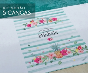 Kit com 05 cangas Tropical Chic Verde