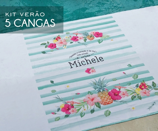 Kit 05 Cangas Personalizadas Tropical Verde