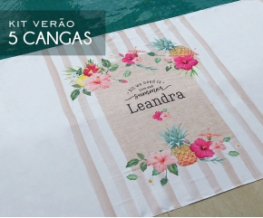 Kit com 05 cangas Tropical Chic Nature