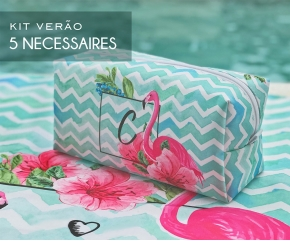 Kit 05 Necessaires Flamingos Floral Tiffany