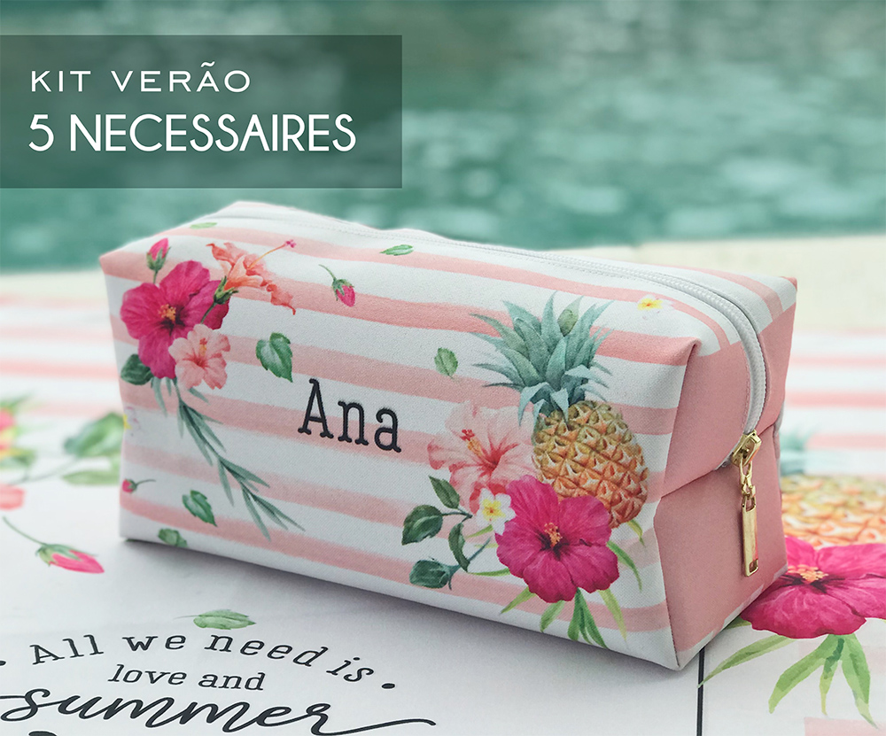 Kit 05 Necessaires Tropical Pink