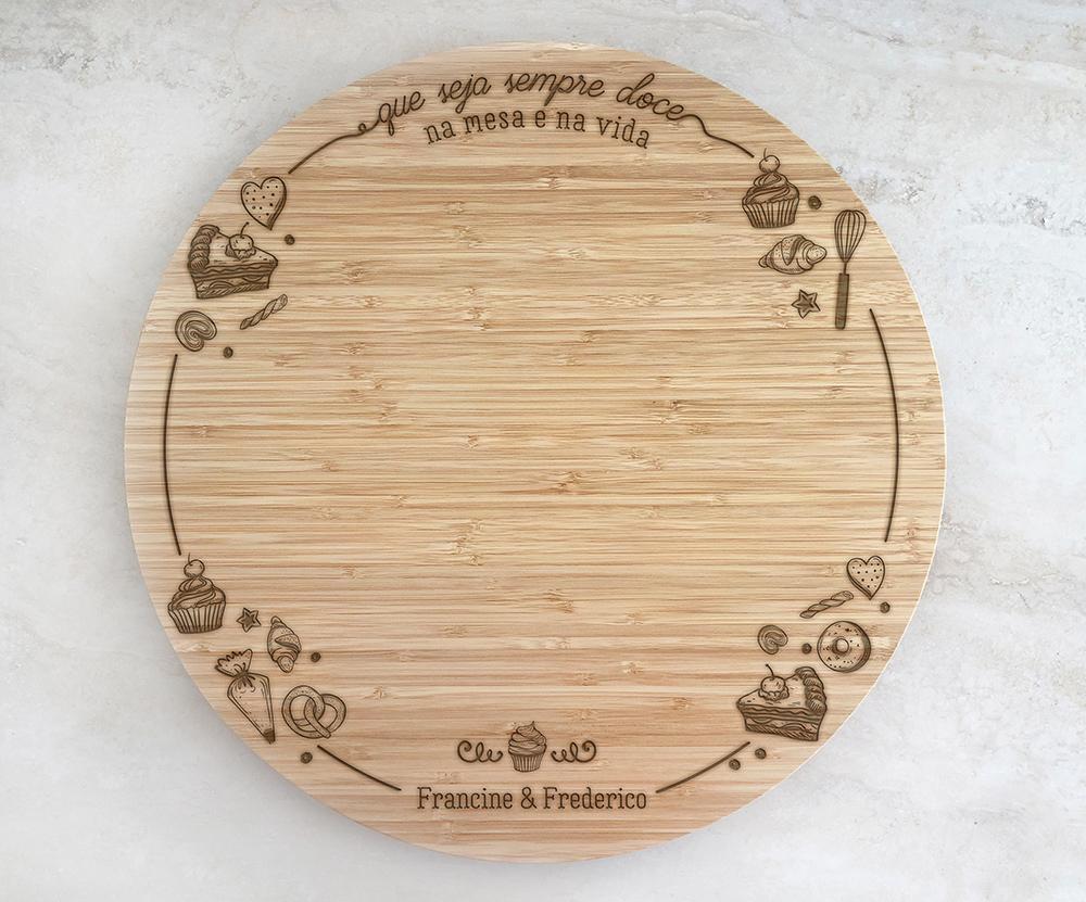 Tábua de Bambu Giratória para Queijos 40 cm Personalizada 02