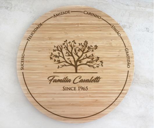 Tábua de Bambu Giratória para Queijos 40 cm Personalizada 04