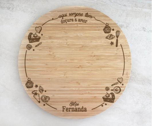Tábua de Bambu Giratória para Queijos 40 cm Personalizada Dia das Mães