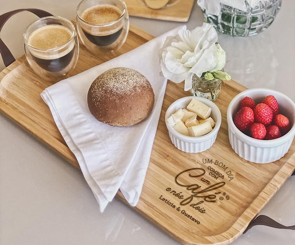 Kit Café Personalizado Bandeja M e 02 Copos para café