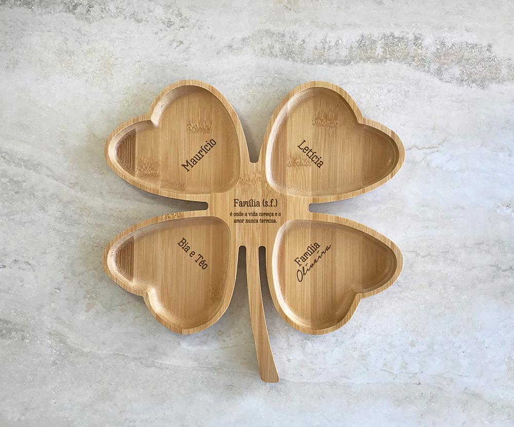 Petisqueira de Bambu Trevo Personalizada 17