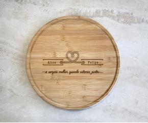 LP - Tábua de bambu redonda 30 cm Personalizada