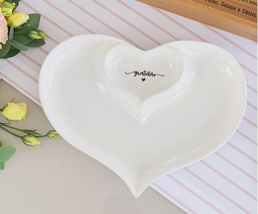 Petisqueira em Porcelana Dois Corações Gratidão