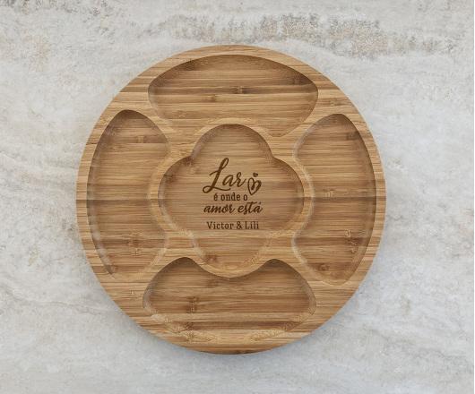 Petisqueira de Bambu Redonda Personalizada 06