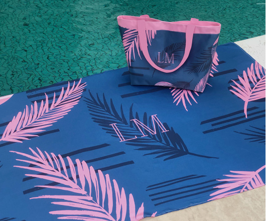 Kit Canga e Bolsa Palm Marinho