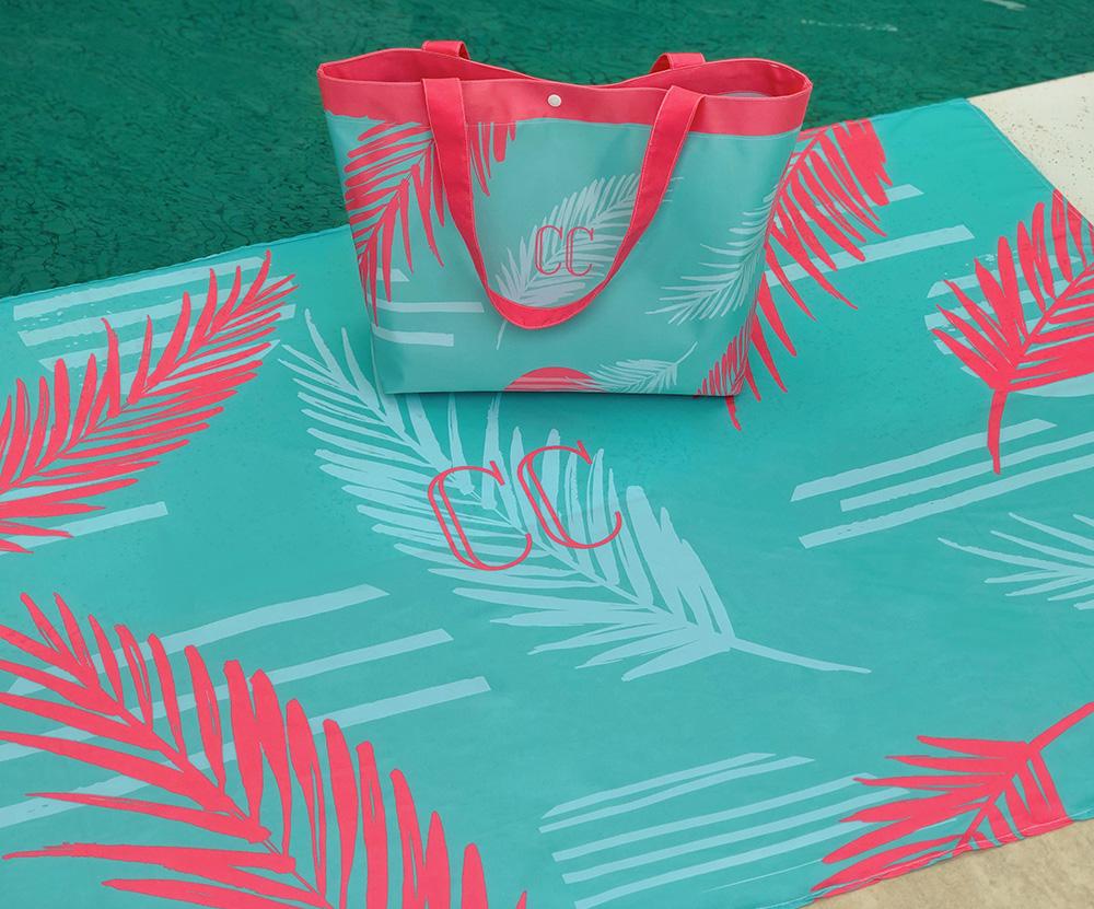 Kit Canga e Bolsa Palm Tiffany
