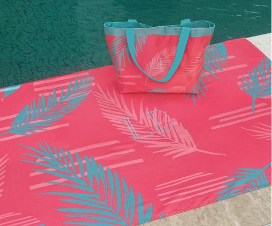 Kit Canga e Bolsa Palm Coral