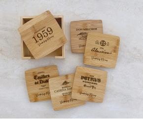 Porta Copos de Bambu com suporte Personalizado 16
