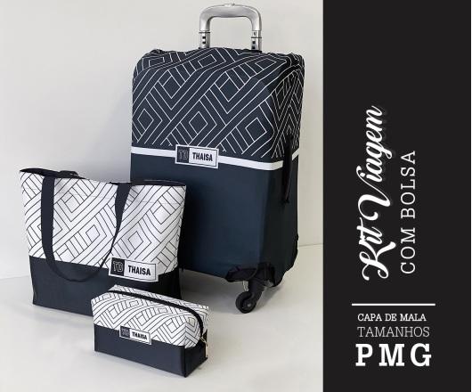 Kit Viagem Personalizado Preto e Branco