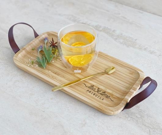 Kit Chá com Bandeja P, 01 Colher e 01 Copo de Parede Dupla 250 ml
