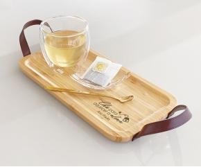 Kit Chá com Bandeja P, 01 Copo Parede Dupla 250 ml , 01 Colher e 01 Mini Bowl