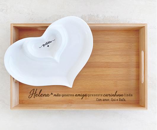 Bandeja Retangular e Petisqueira Dois Corações em Porcelana