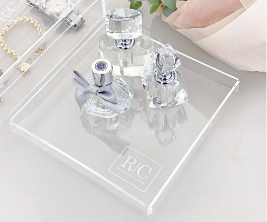 Bandeja Acrílico Cristal 19 x 19 cm