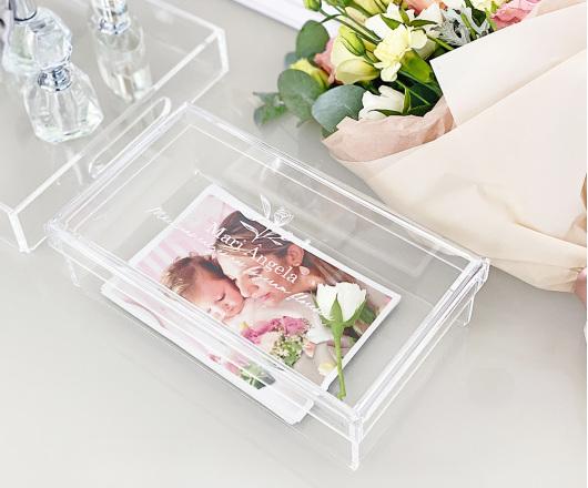 Caixa de Acrílico Cristal 22 x 12 cm Dia das Mães