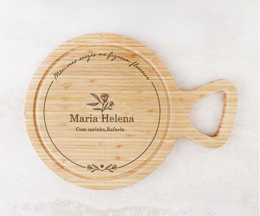 Tábua para Queijos 28 cm com Cabo Personalizada - Dia das Mães