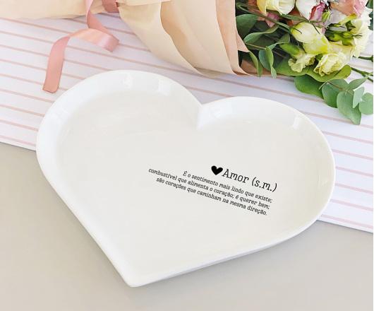 Petisqueira Coração em Porcelana Amor
