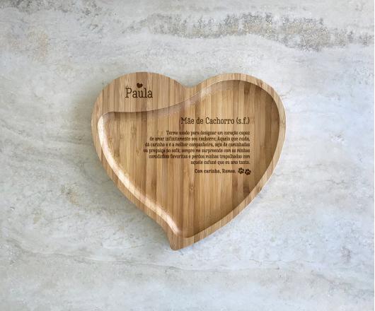Petisqueira de Bambu Coração Personalizada Mãe de Pet