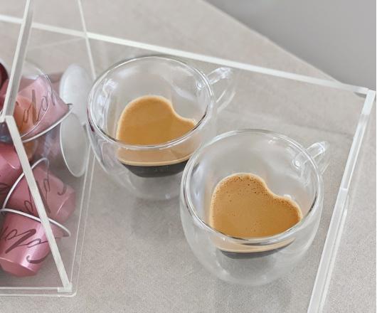 02 Xícaras para café com parede Dupla Coração