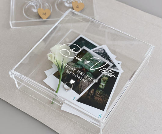 Caixa de Memórias Acrílico Cristal 20 x 20 cm Dia dos Namorados