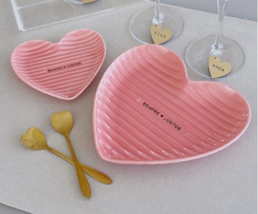 Dupla de Petisqueiras Coração Rosa de Porcelana
