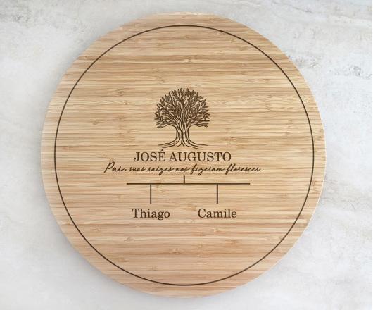 Tábua de Bambu Giratória para Queijos 40 cm Personalizada 08