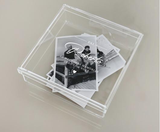Caixa de Memórias Acrílico Cristal 20 x 20 cm Dia dos Pais