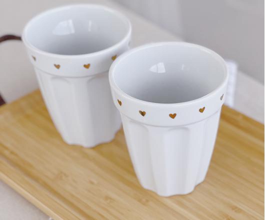 Dupla de Copos de Cerâmica Dourado 300 ml