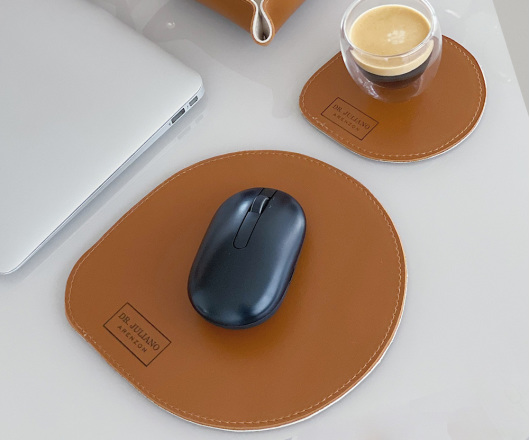 Conjunto Mouse Pad e Porta Copos Caramelo Personalizado