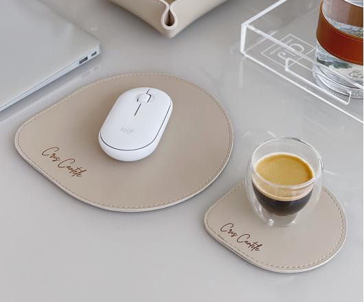 Conjunto Mouse Pad e Porta Copos Bege Personalizado